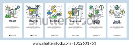 Web site onboarding screens. Company business strategy planning and financial report. Menu vector banner template for website and mobile app development. Modern design linear art flat illustration