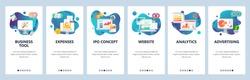 Web site onboarding screens. Financial report, business tools, analytics. Menu vector banner template for website and mobile app development. Modern design flat illustration