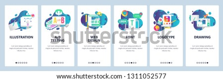 Web site onboarding screens. Graphic design, web and logotype design, computer fonts. Menu vector banner template for website and mobile app development. Modern design linear art flat illustration