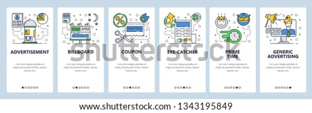 Web site onboarding screens. Marketing and advertising icons. Billboard, TV AD and online promotions. Menu vector banner template for website and mobile app development. Design flat illustration