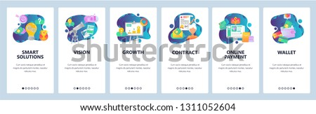 Web site onboarding screens. Online shopping, business chart, money payment and wallet. Menu vector banner template for website and mobile app development. Modern design linear art flat illustration
