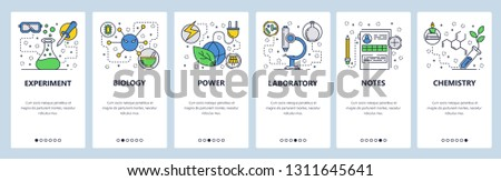 Web site onboarding screens. Science experiment in lab. Chemisty, biology. Menu vector banner template for website and mobile app development. Modern design linear art flat illustration