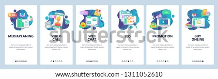 Web site onboarding screens. Social media, online chat, video call, SEO and marketing promotion, online shopping. Menu vector banner template for website and mobile app development.  illustration