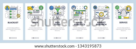 Web site onboarding screens. Web services, spam, email analyrics and filtering. Market research. Menu vector banner template for website and mobile app development. Modern design flat illustration
