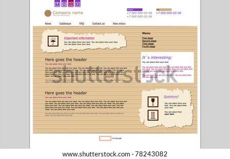Web site template. Craft paper style