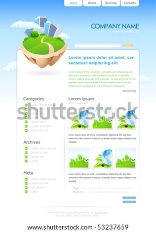 Web site template for your blog. vector illustration
