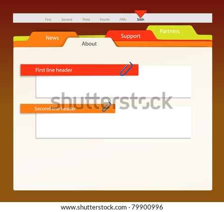 Web site template. Paper sheet style