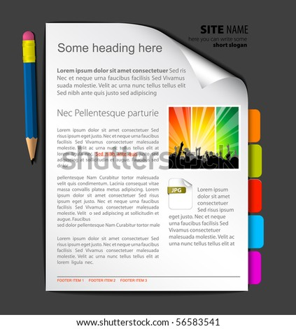 Web site template - sheet of paper with colorful bookmarks