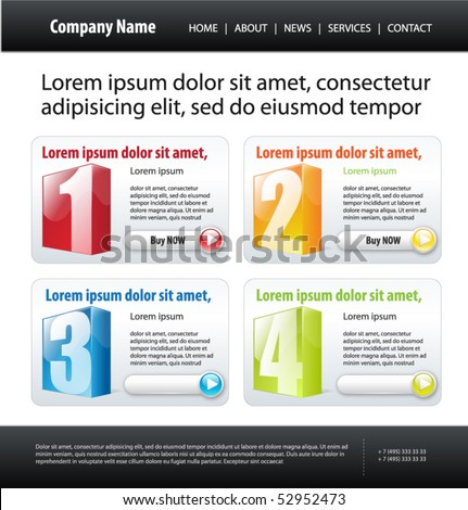 web 20  site template  vector