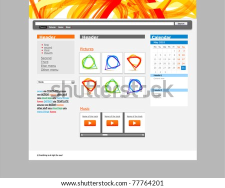Web site template with abstract style header