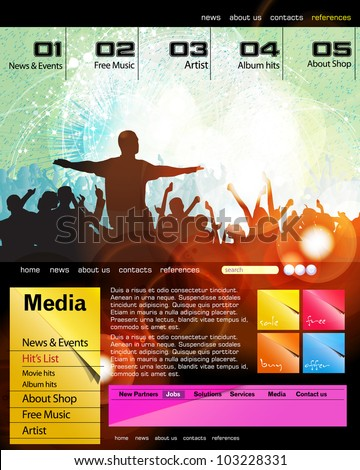 Web site template with music banner