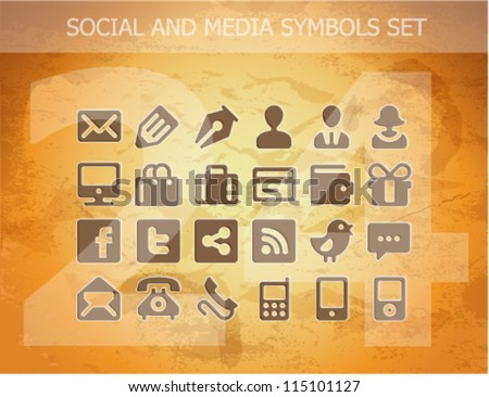 web social and media pictograms set isolated