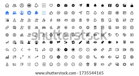 web social media interface application icons, modern design facebook, facebook icons, buttons, signs, symbols for web and mobile apps, social media network, blogging icons. Vector illustration
