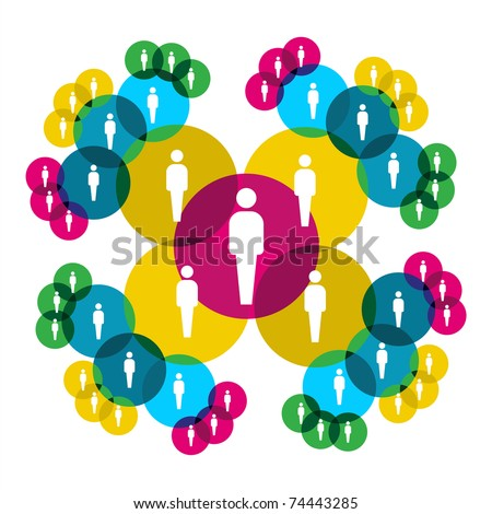 Web social relationship diagram showing people silhouettes connected by colorful circles.