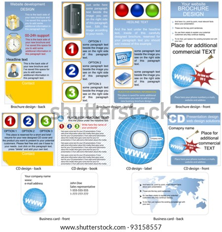 Web stationary - brochure design, CD cover design and business card design in one package and fully editable.