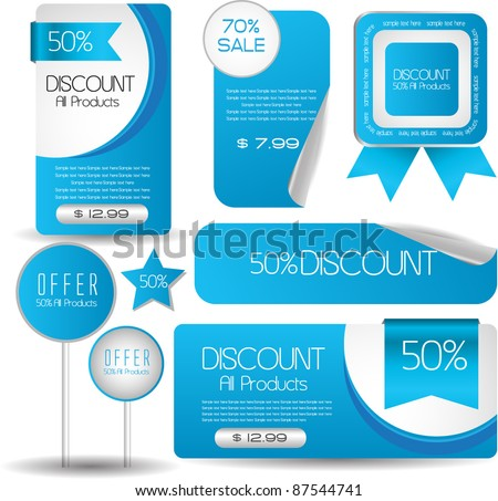 web sticker banner tag and seal collection