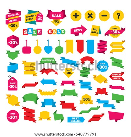 Web stickers, banners and labels. Plus and minus icons. Delete and question FAQ mark signs. Enlarge zoom symbol. Special offer tags. Vector