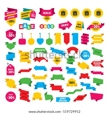 Web stickers, banners and labels. Sale gift box tag icons. Discount special offer symbols. 10%, 20%, 30% and 40% percent discount signs. Special offer tags. Vector
