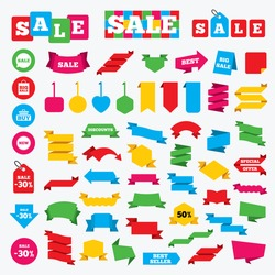 Web stickers, banners and labels. Sale speech bubble icon. Buy cart symbol. New star circle sign. Big sale shopping bag. Price tags set.