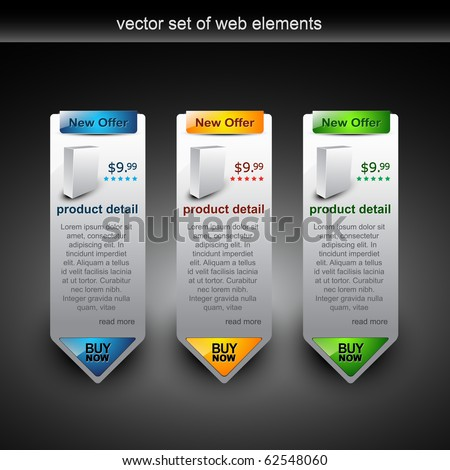 web style elements with showing product for sale