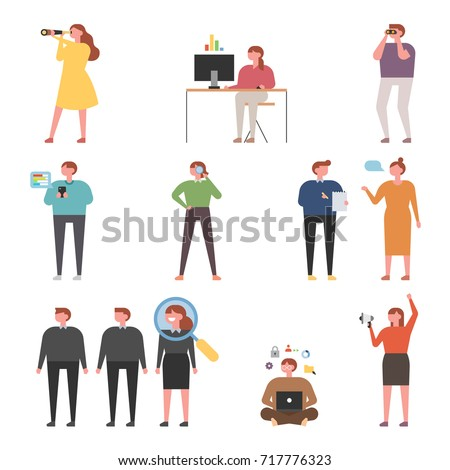 Web surfing search people characters vector illustration flat design
