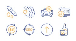 Web system, Car leasing and Money currency line icons set. Swipe up, Friends couple and Chemistry pipette signs. Seo, Whiskey glass symbols. Computer, Transport discount. Business set. Vector