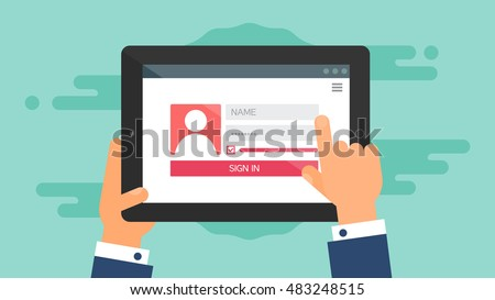 Web Template and Elements for site form of login to account on tablet. Vector Stock photo ©