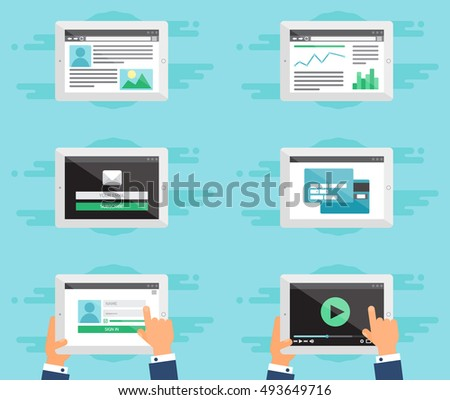 Web Template for site forms of email subscribe, login to account, watching video, online shopping, blog and infographics on tablet. Vector