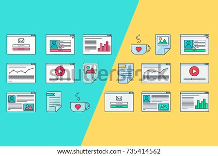 Web Template for site forms of email subscribe, login to account, watching video, online shopping, blog and infographics. Vector