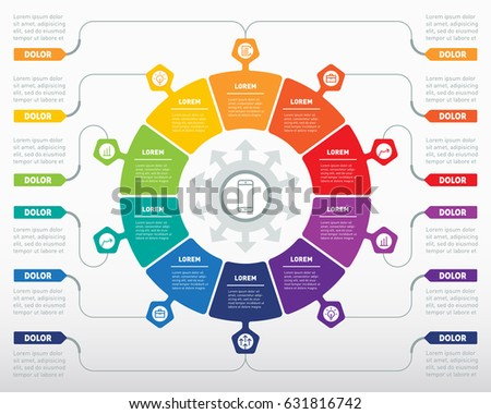 Web Template of a circle diagram, info chart  or presentation. Part of the report with logo and icons set. Vector infographic of technology or education process. Business concept with eight options