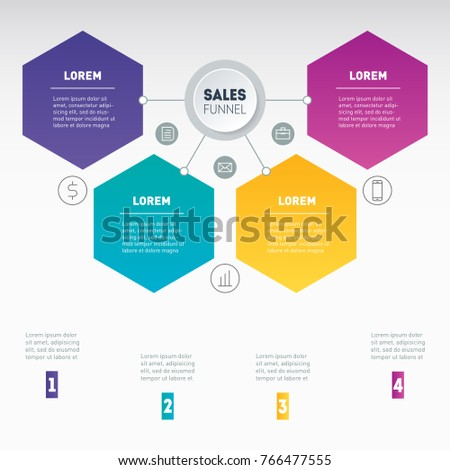 Web Template of a sales pipeline, purchase funnel, sales funnel, chart or diagram. Business presentation concept with 4 options. Vector infographic of technology or education process with 4 steps.