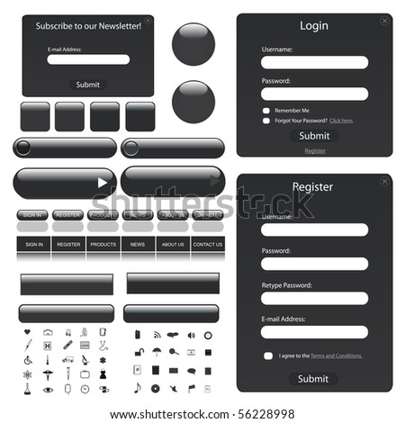 Web template with forms bars buttons and many icons