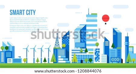 Web template with illustration of smart city. Futuristic urban background with skyscrapers and office buildings. Modern vector flat style.
