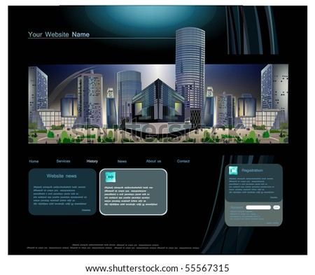 web template with modern business square view