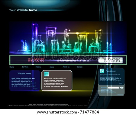 web template with neon city