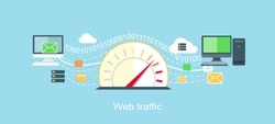 Web traffic internet icon flat isolated. Service feedback, network speed, computer optimization, communication and connection, data process, stream server illustration
