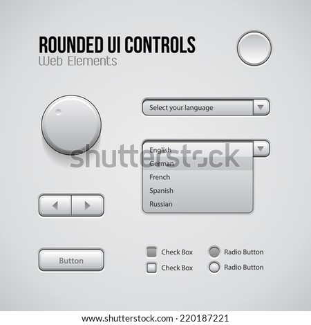 Web UI Controls Design Elements: Buttons, Switchers, On, Off, Player, Audio, Video: Play, Stop, Next, Pause, Volume, Equalizer, Knobs, Drop-down, Navigation Bar, Menu, Check Box, Radio Button