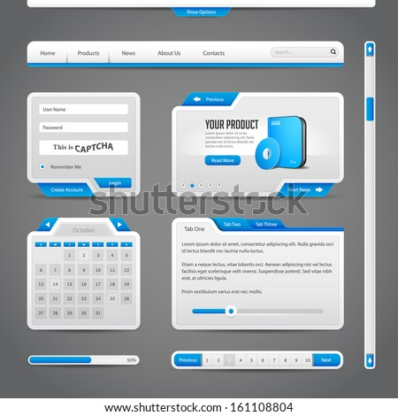 Web UI Controls Elements Gray And Blue On Dark Background: Navigation Bar, Buttons, Form, Slider, Message Box, Menu, Tabs, Search, Scroll, Download, Pagination, Calendar, Equalizer, Loader, Progress