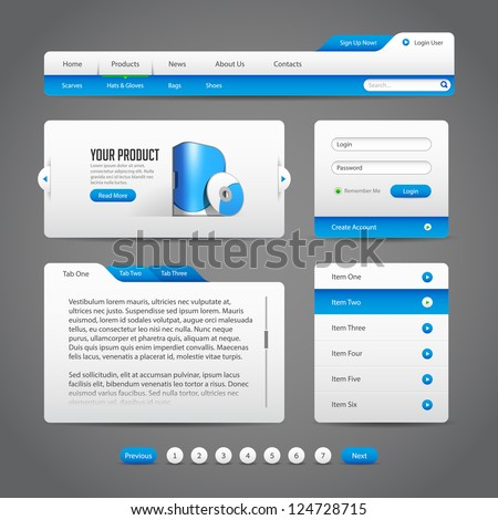 Web UI Controls Elements Gray And Blue On Dark Background: Navigation Bar, Buttons, Slider, Message Box, Loader, Pagination, Menu, Accordion, Tabs, Login Form, Search