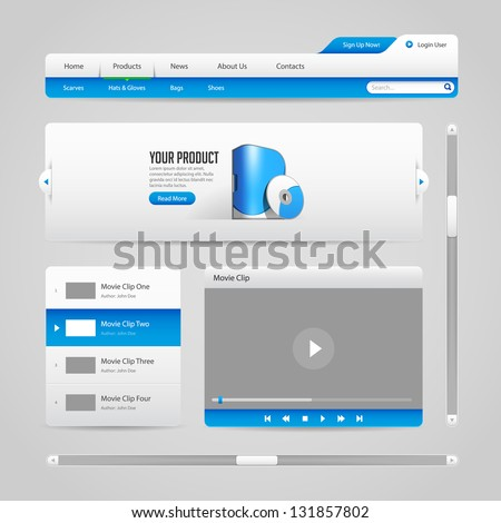 Web UI Controls Elements Gray And Blue On Light Background 2: Navigation Bar, Buttons, Slider, Message Box, Menu, Tabs, Login, Search, Menu, Scroll, Player, Video, Progress Bar, Play, Stop