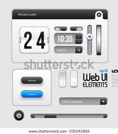 Web UI Elements Design Gray Blue: Part 5