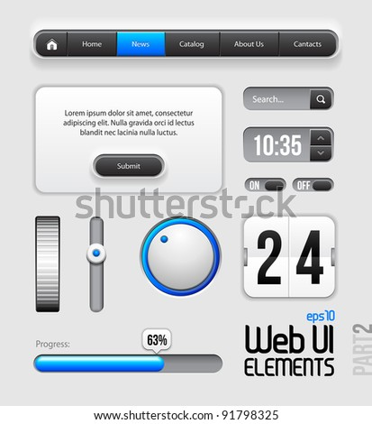 Web UI Elements Design Gray Blue: Part 2