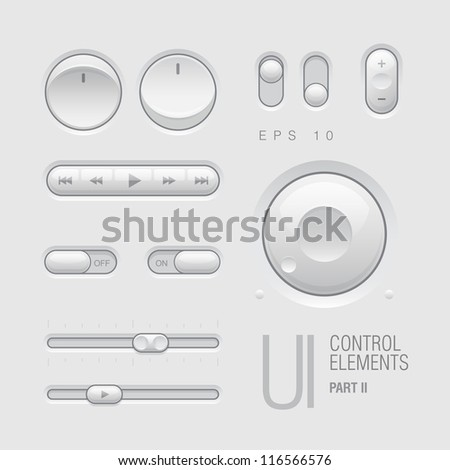 Web UI Elements Design Gray. Buttons, Switches, bars, power buttons, sliders. Part two. Vector illustration