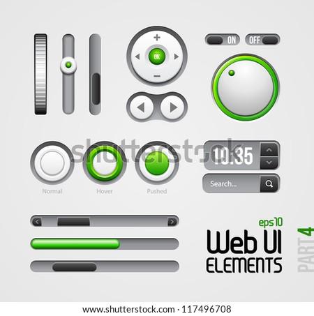 Web UI Elements Design Gray Green: Part 4