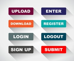 Web UI icon elements- Login, Sign up, Submit, Download, Upload, Enter and Logout buttons. Vector illustration.