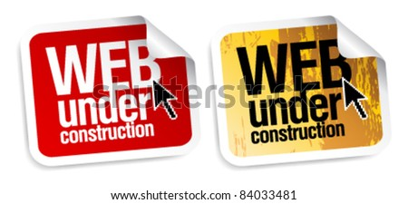 Web under construction stickers set.