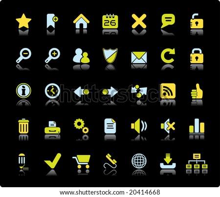 Web Vector Icon Set On Black Background