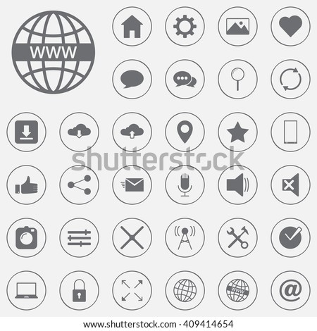 web vector icons set, internet modern solid symbol collection, pictogram pack isolated on gray