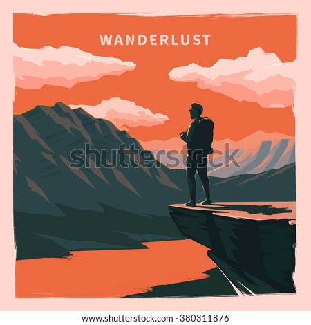 Web vector  illustration on the theme of Climbing, Trekking, Hiking, Walking. Sports, outdoor recreation, adventures in nature, vacation. Wanderlust. Downshifting. Retro flat poster.