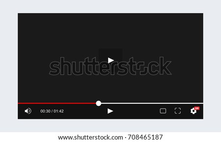Web video player template inspired by Youtube. Vector illustration